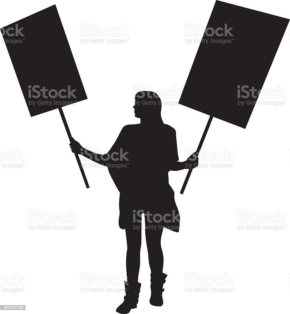 Girl lProtester Silhouette vector art illustration
