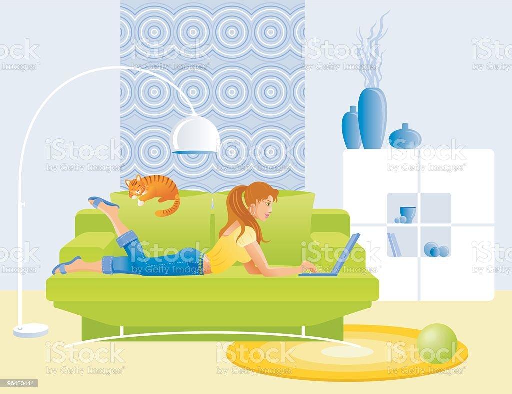 Girl, lying on sofa with laptop vector art illustration
