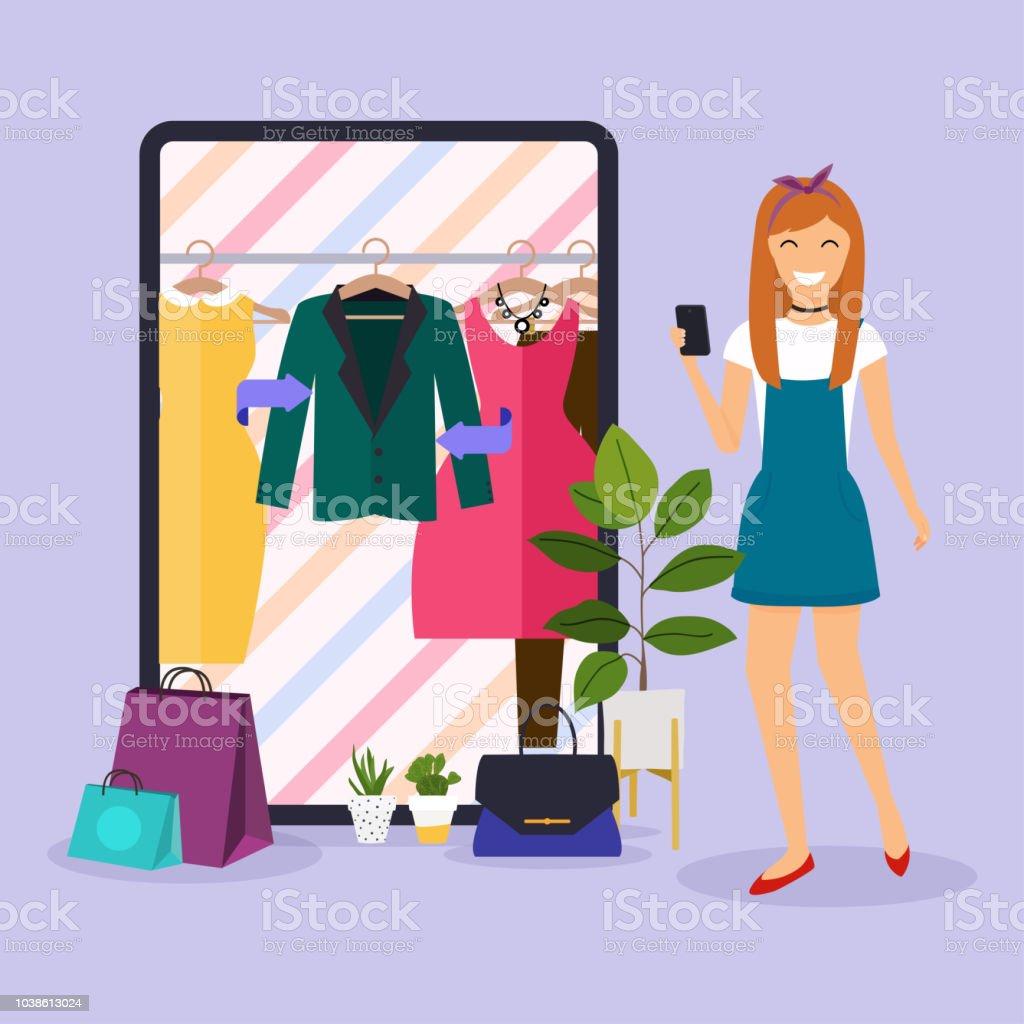 Girl make shopping online from phone. Sale. Flat design modern vector illustration concept. vector art illustration