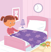 Vector Girl making bed