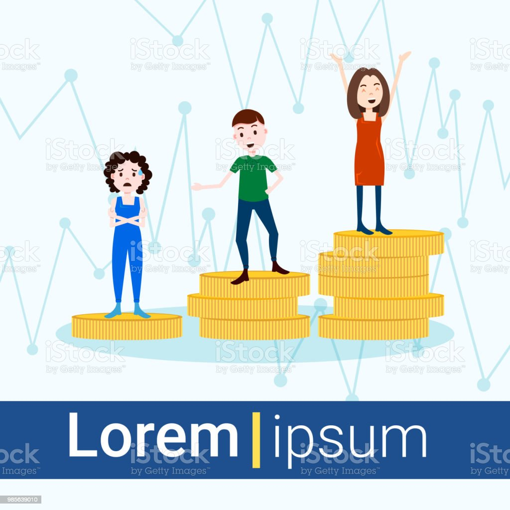 girl man character on podium coins stack loser winner success