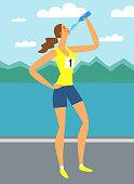 Girl marathon runner drinking water