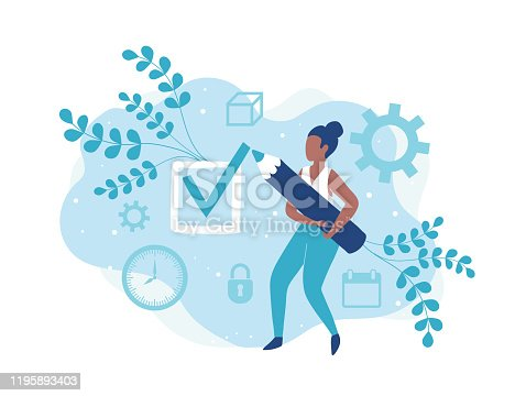 istock Girl marks done. The to do list. Make a choice 1195893403