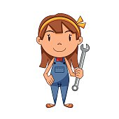 Girl mechanical engineer, holding wrench, vector illustration, cartoon character, car mechanic, isolated, white background