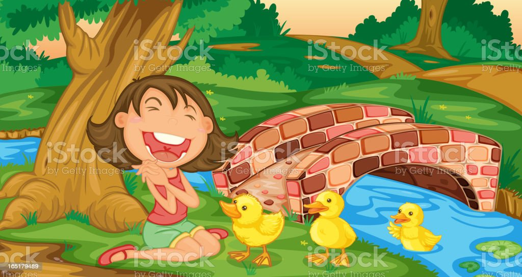 Girl meets ducklings royalty-free girl meets ducklings stock vector art & more images of adult