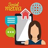girl mobile chat speech globe web social media vector illustration eps 10