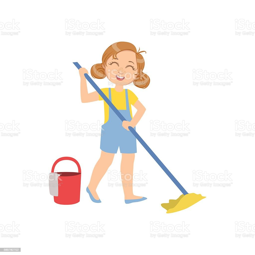 Girl Mopping The Floor With Bucket vector art illustration