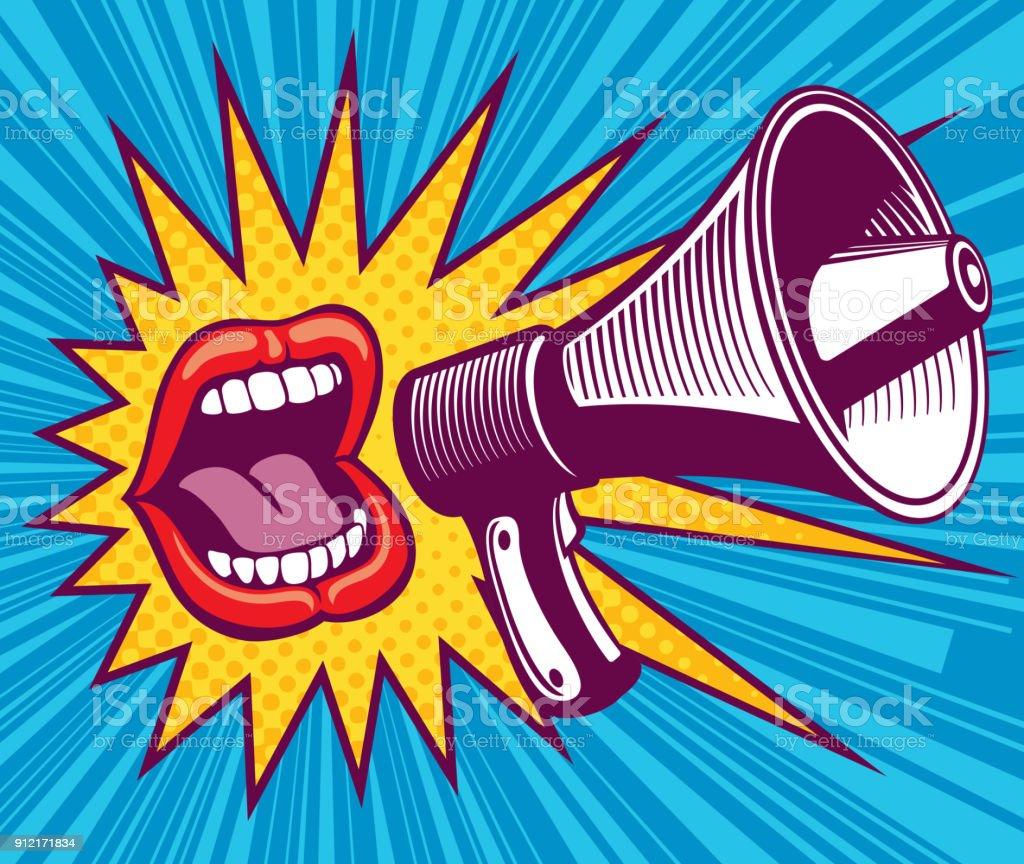 Boca de menina com megafone. Ilustração vetorial no estilo pop art - ilustração de arte em vetor