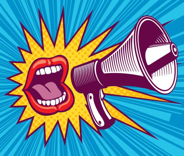 Bouche de fille avec mégaphone. Illustration vectorielle en style pop art - Illustration vectorielle