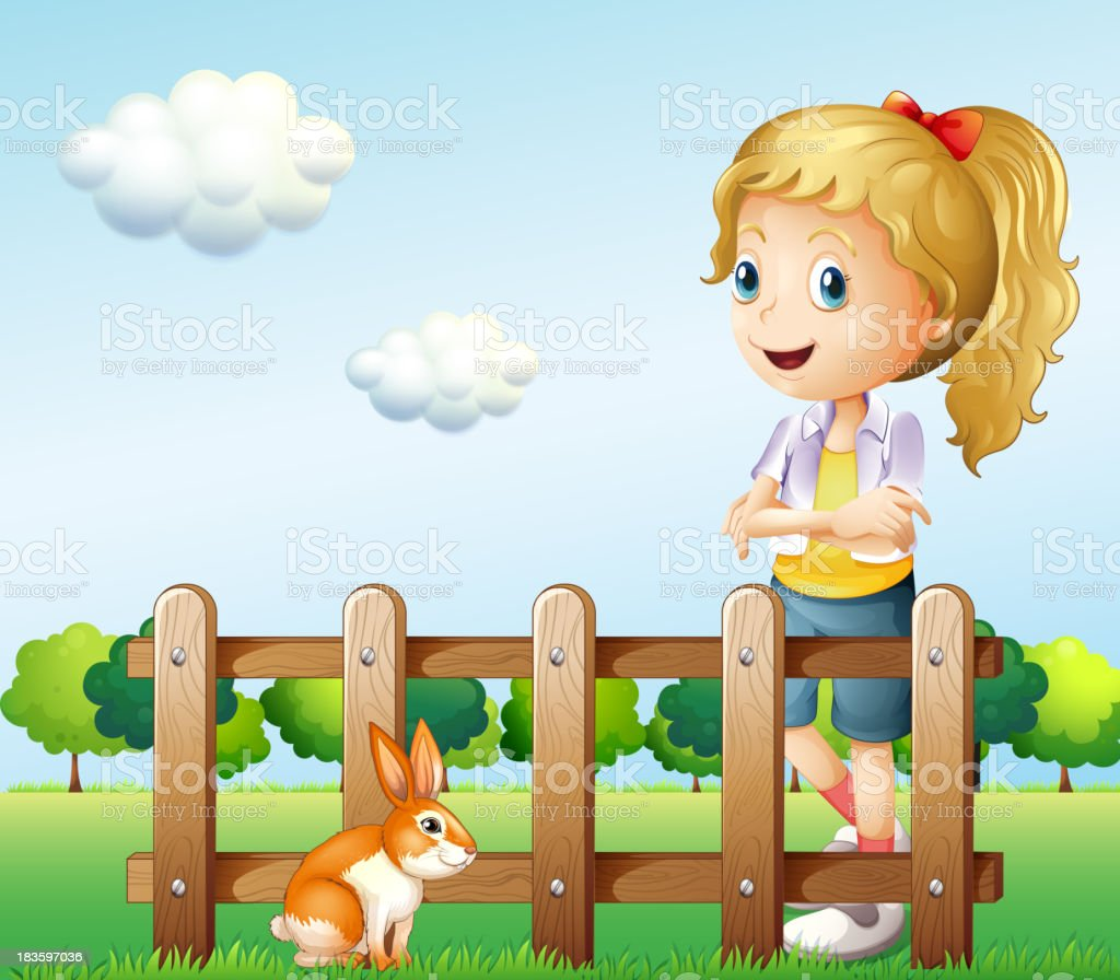 girl near the fence with a rabbit royalty-free stock vector art