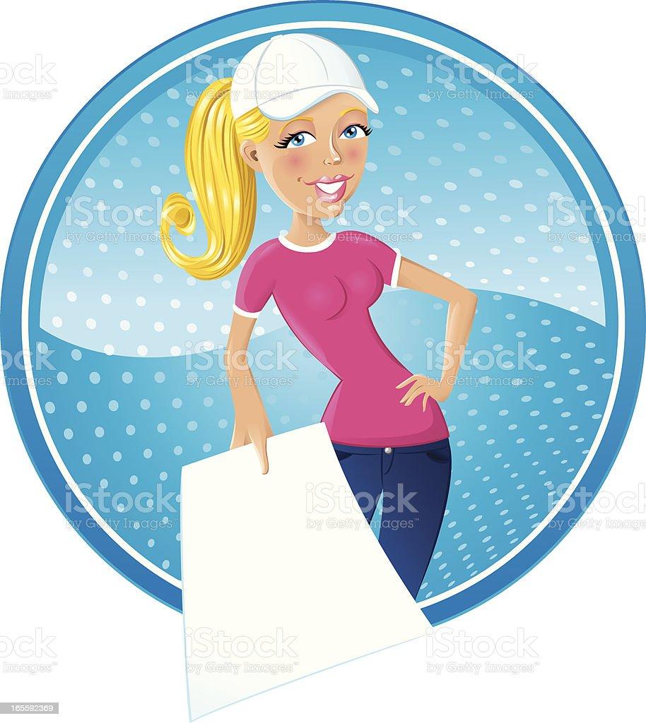 Girl Next Door With Flyer vector art illustration