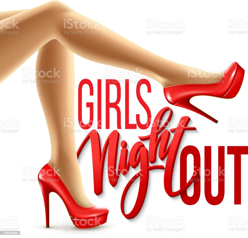 Girl Night Out Party Design. Vector illustration vector art illustration