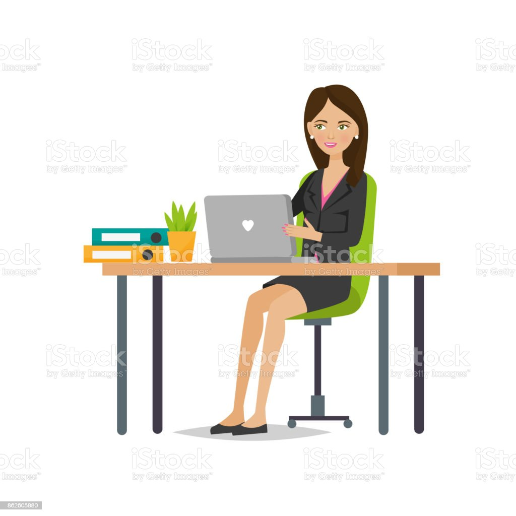Girl of an office worker rejoices in success, working vector art illustration