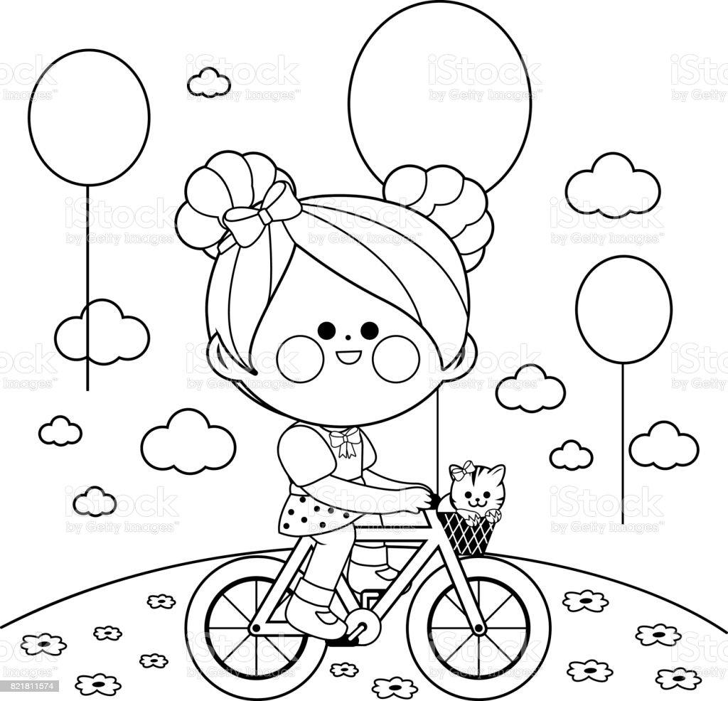 Chica En Bicicleta En El Parque Blanco Y Negro Para Colorear Página ...