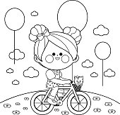 Happy little girl riding a bicycle at the park. Vector black and white coloring book page