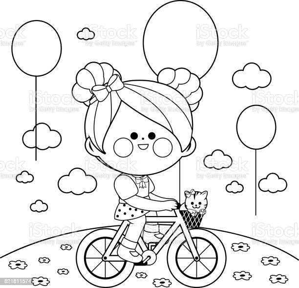 Girl on a bicycle at the park black and white coloring book page vector id821811574?b=1&k=6&m=821811574&s=612x612&h=x5wwntcctmcahiqah43 6i7evvn5 h69tuuqpv8ryna=