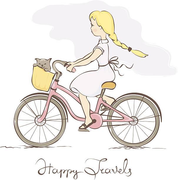 mädchen auf dem fahrrad in einem retro-stil - lustige fahrrad stock-grafiken, -clipart, -cartoons und -symbole