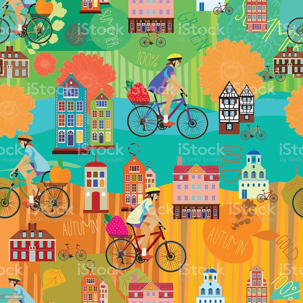 Girl on a bicycle. Summer. Autumn. Vector seamless pattern. vector art illustration