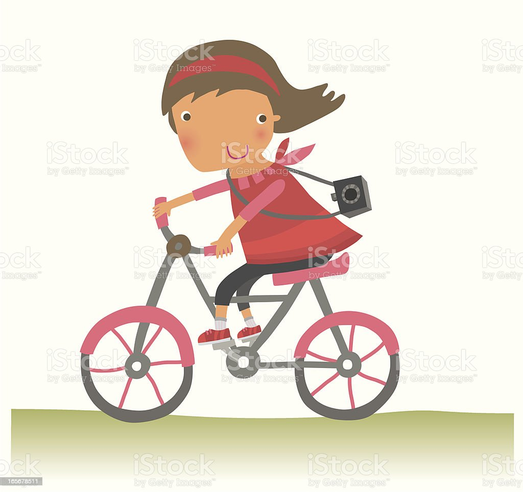 Girl on a Bike royalty-free stock vector art