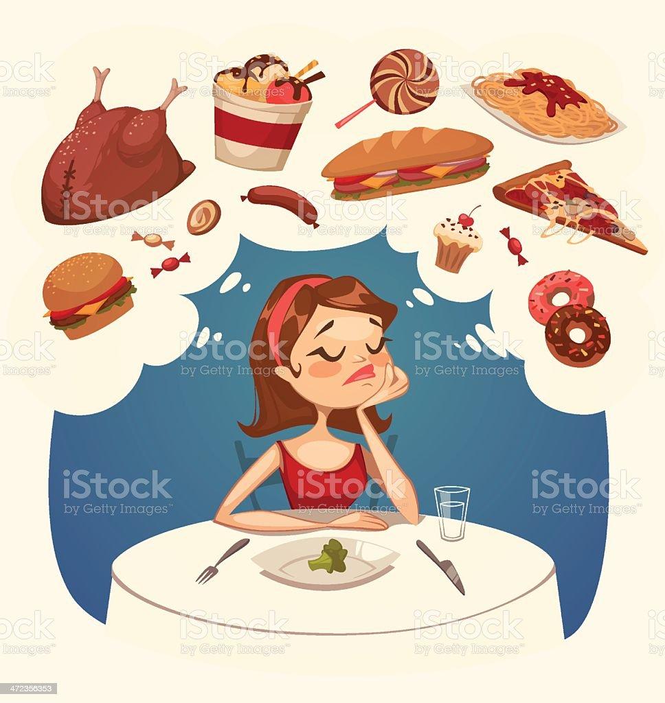 Girl on a diet. Tasty desires. Vector illustration. vector art illustration