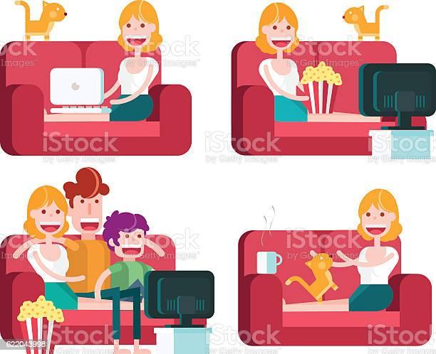 Girl on a sofa staying at home vector id622043998?b=1&k=6&m=622043998&s=612x612&h=zyhmcn8dyftdinclwqkkrt8vfxmtpjbjesfqncw 8li=