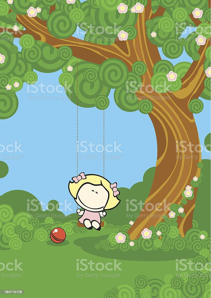 Girl on a swing royalty-free girl on a swing stock vector art & more images of activity