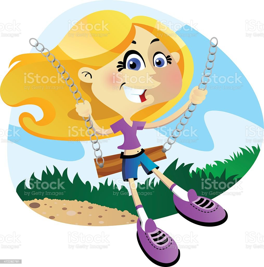 Girl on a swing royalty-free girl on a swing stock vector art & more images of adult