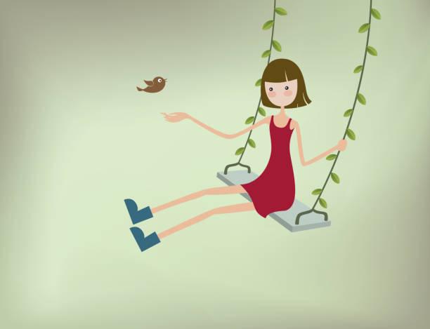 ilustrações de stock, clip art, desenhos animados e ícones de menina em um balanço - balouço
