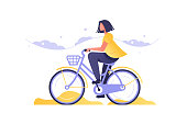 Girl on bicycle going by road vector illustration. Woman character in casual clothes riding bike outdoor flat style concept. Biker female active resting and healthy lifestyle
