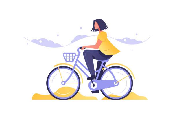 bildbanksillustrationer, clip art samt tecknat material och ikoner med flicka på cykel går på väg - cykla