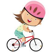 vector girl on bicycle