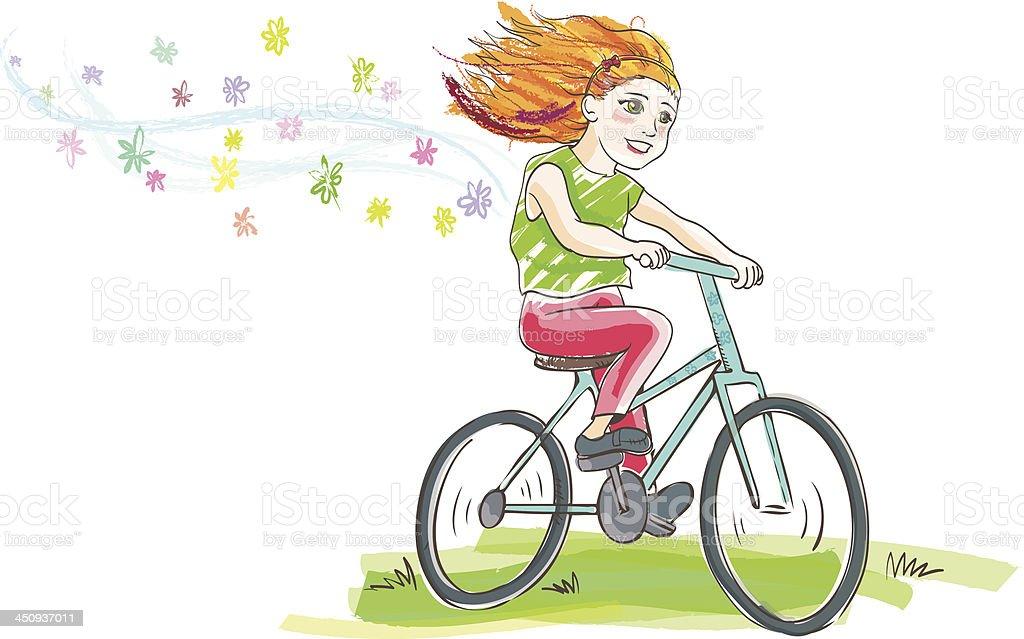 girl on bike royalty-free stock vector art