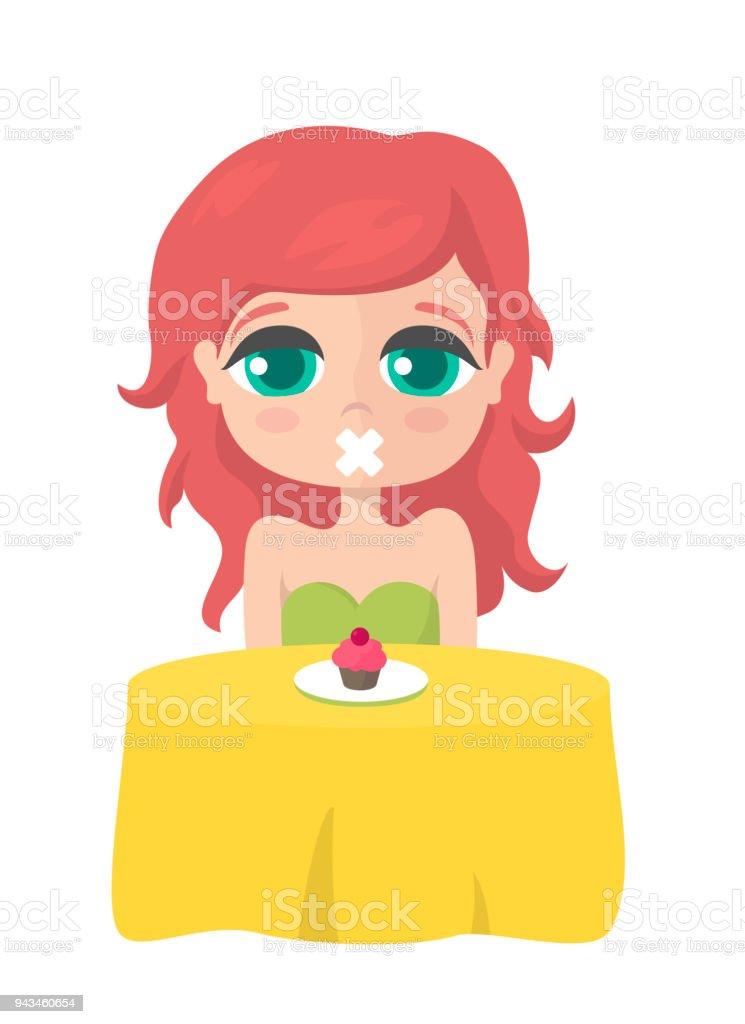 Chica en la dieta - ilustración de arte vectorial
