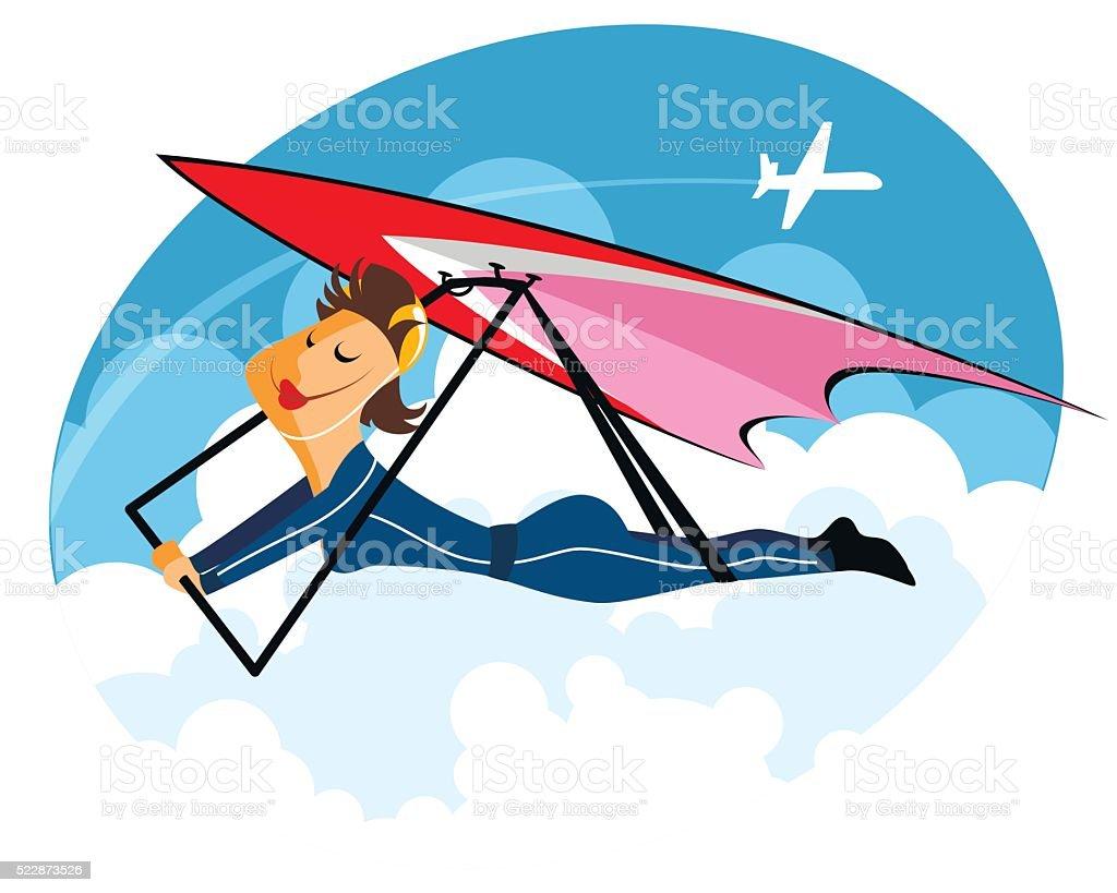 Girl on hang-glider vector art illustration
