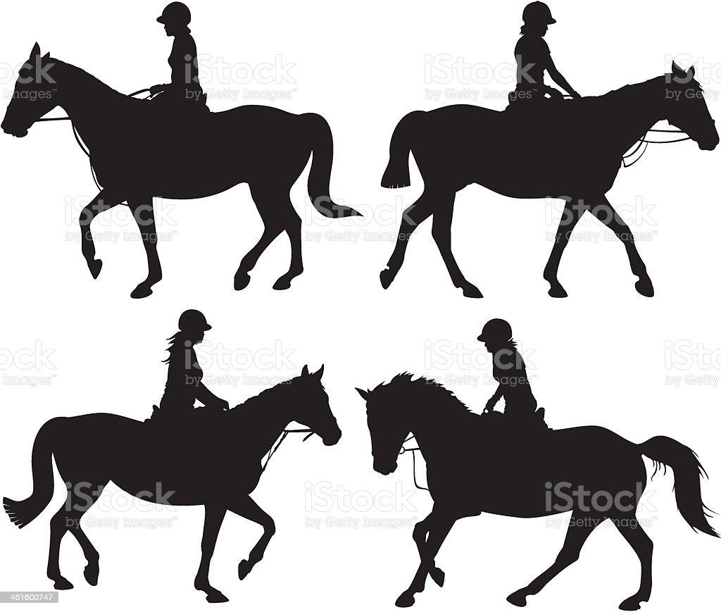 girl on horseback - vector silhouettes vector art illustration