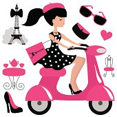 Girl on scooter in Paris vector illustration