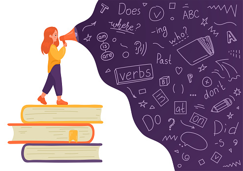 Girl on stack of books talking to megaphone with language doodle