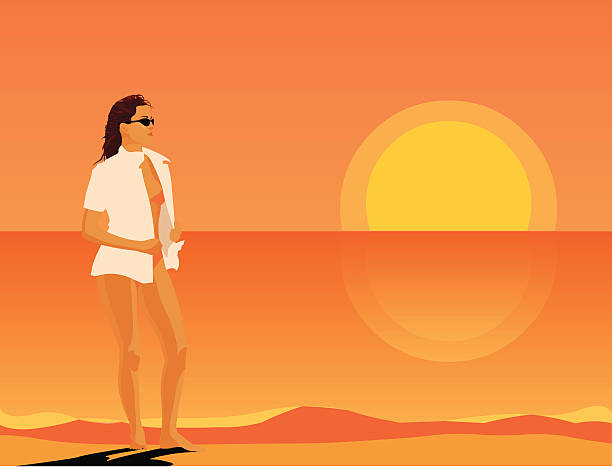 girl on the beach vector art illustration