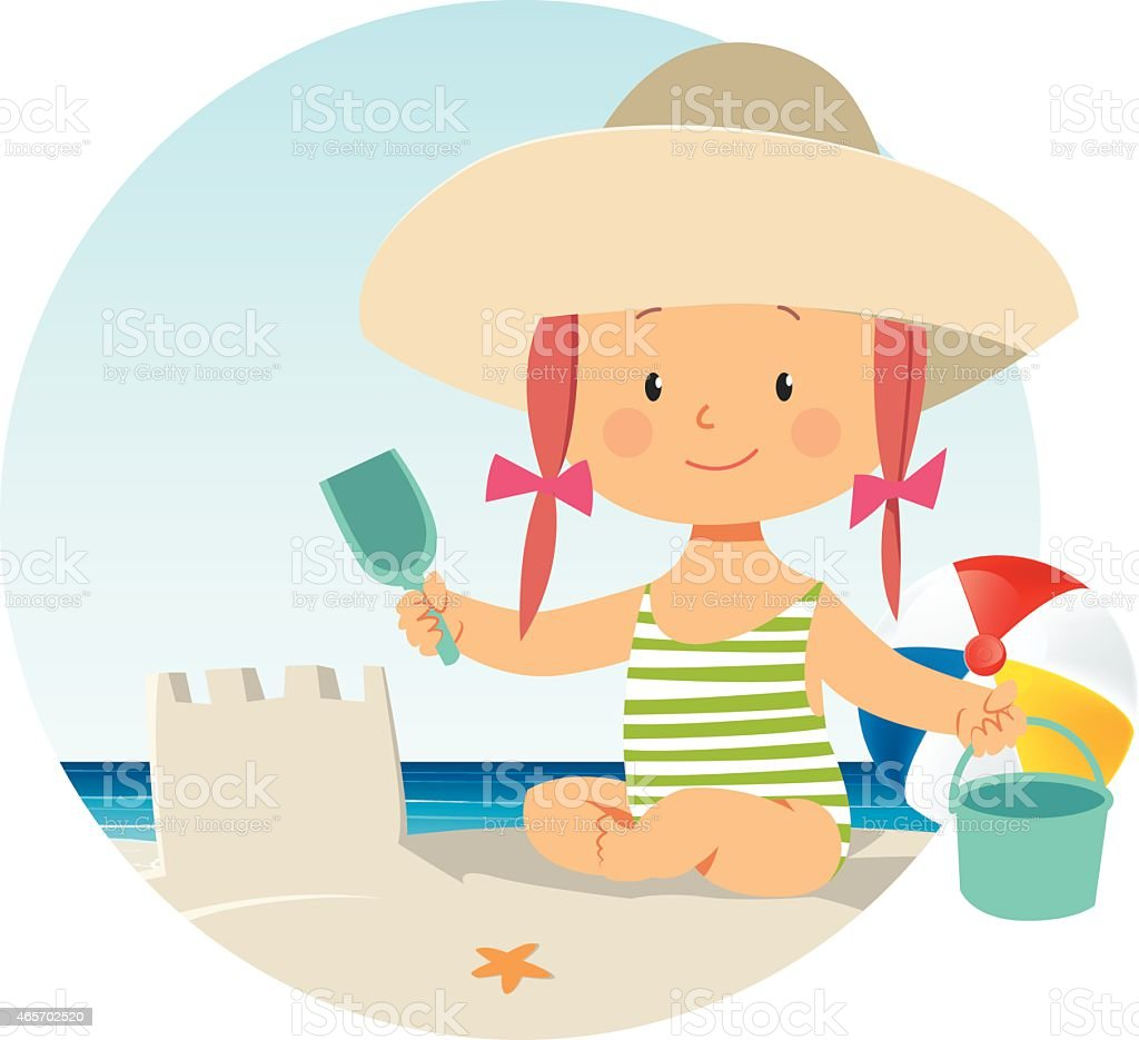 Girl on the beach vector art illustration