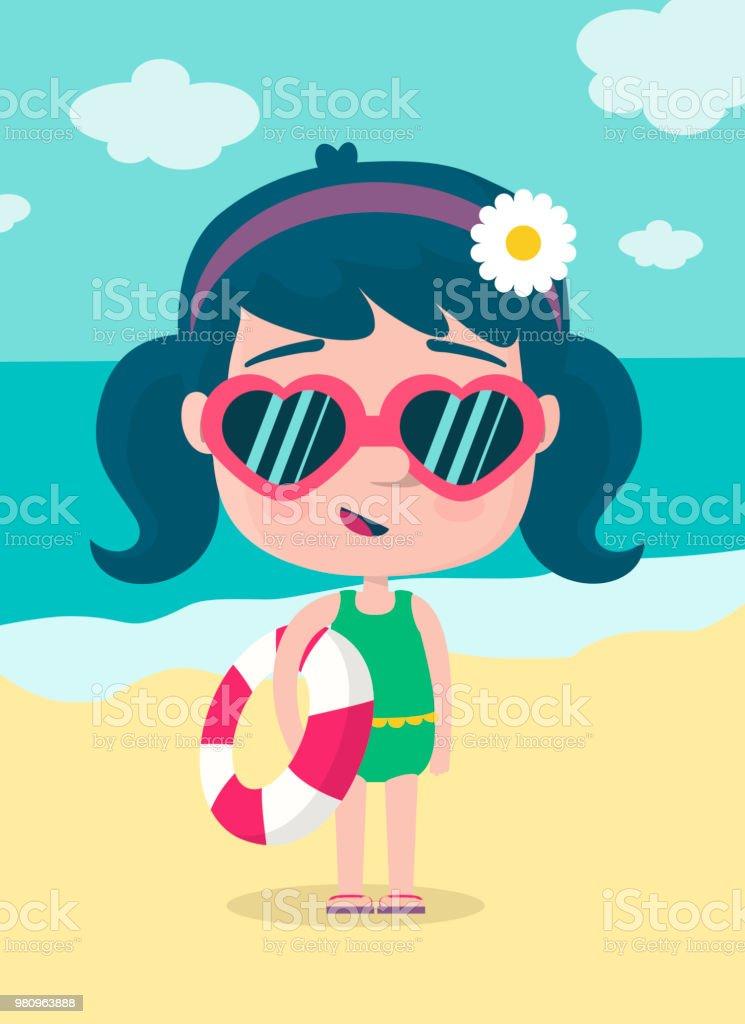 Chica en la playa - ilustración de arte vectorial