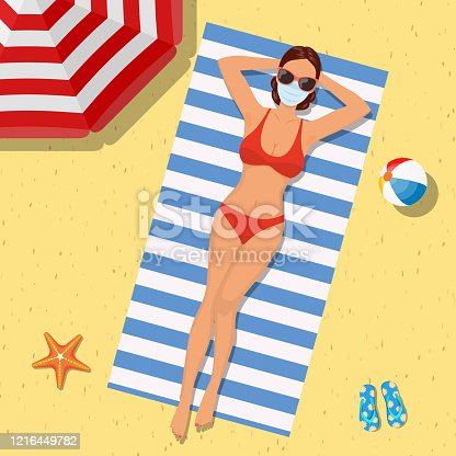 istock Girl on the beach with a bikini. Summer time 1216449782