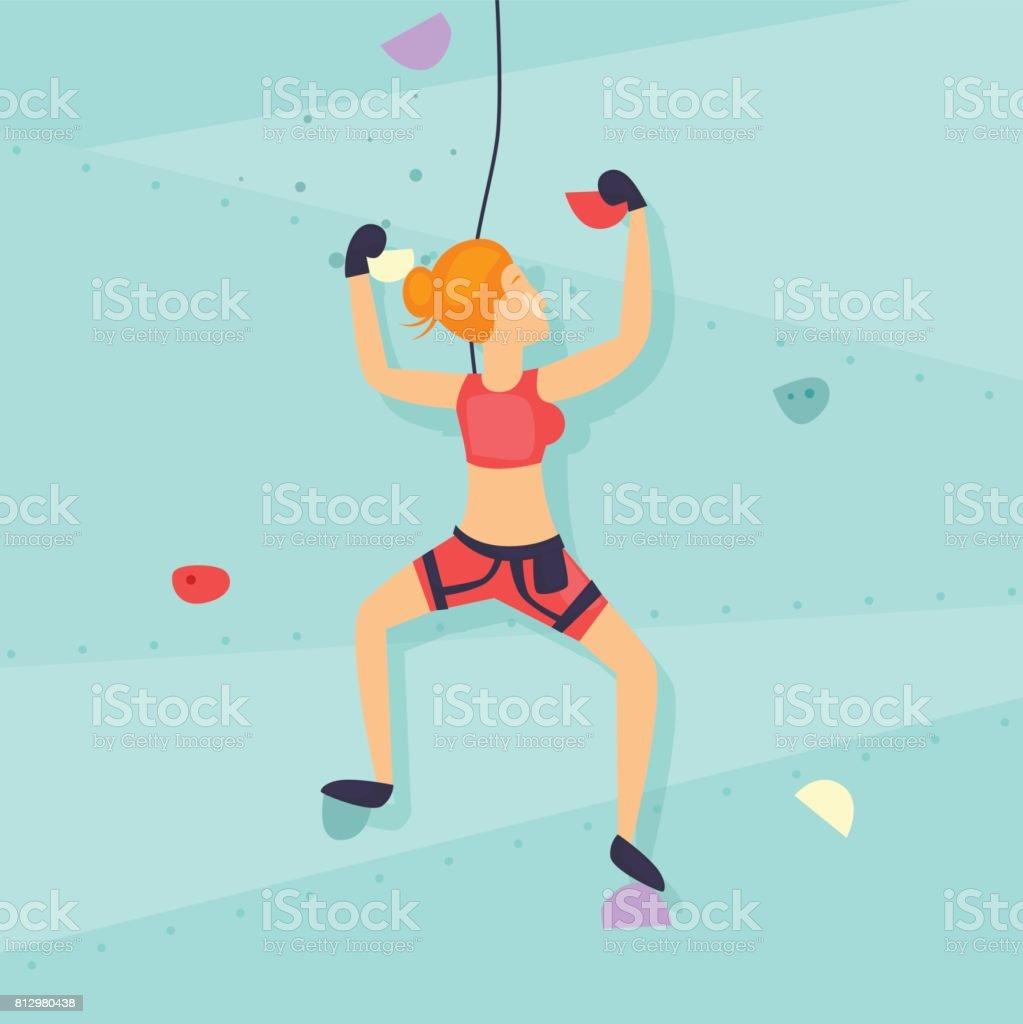 Girl on the climbing wall. Flat design vector illustration. - illustrazione arte vettoriale