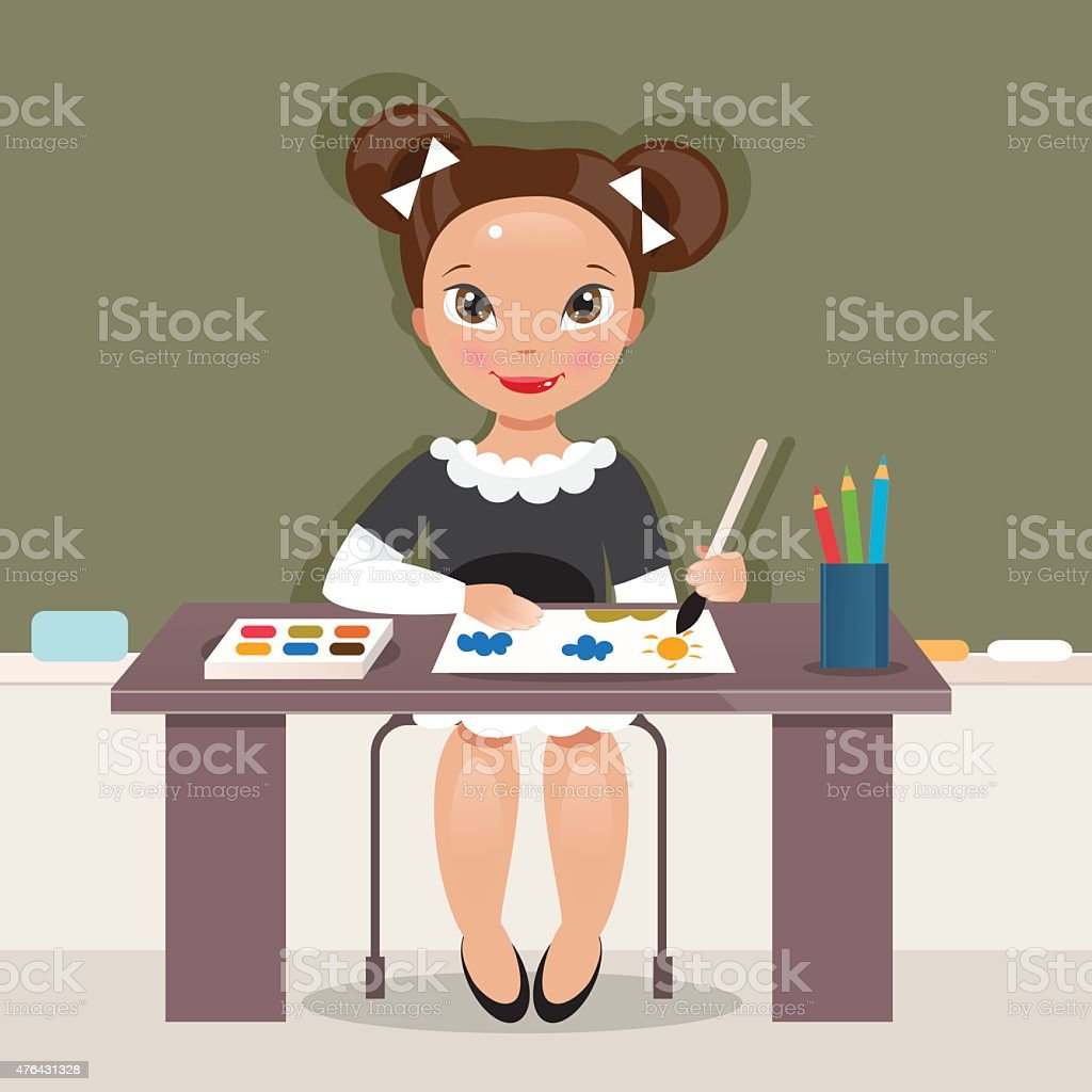 Girl on the drawing lesson. Vector Illustration vector art illustration