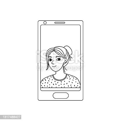 istock Girl on the phone screen.Simple black outline on white. Illustration of a video call with a young woman, chat online. Hand drawn vector illustration in Doodle style. 1317488427