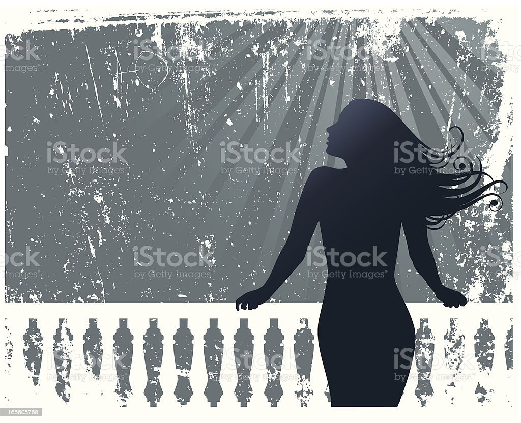 Girl on the Rail royalty-free stock vector art
