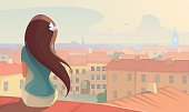 Illustration of The Girl on the roof. EPS file 8. ZIP archive contains - High-Res JPEG file and PNG format.