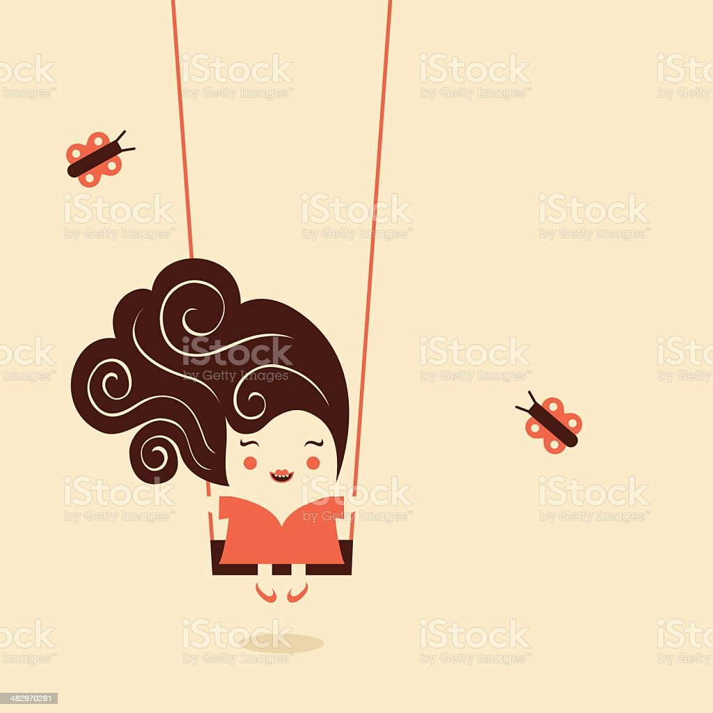 Girl on the swing vector art illustration
