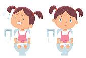Vector girl on toilet