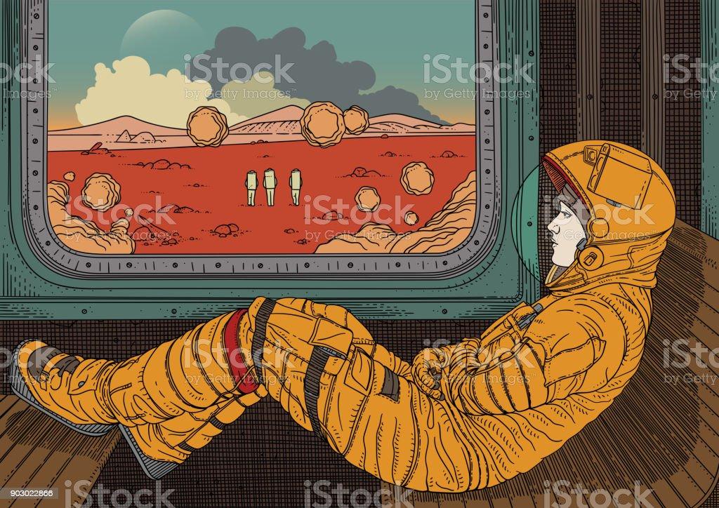 Girl on train. Vector illustration with astronaut traveling by rail on Mars vector art illustration