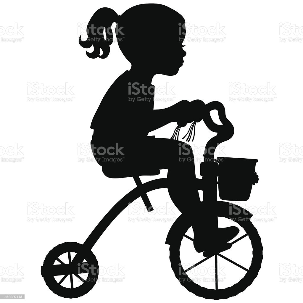 Girl on Tricycle vector art illustration